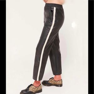 Urban Outfitters faux leather side stripe joggers